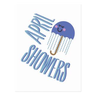 Carte Postale Douches d'avril de parapluie