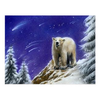 Carte postale d'ours blanc de lumières du nord