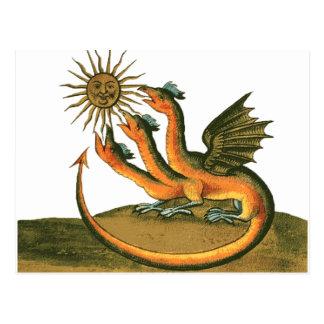 Carte Postale Dragon d'alchimie avec la lune et le Sun