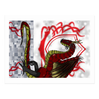 Carte Postale Dragon rouge majestueux