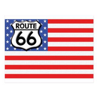 Carte Postale Drapeau américain de l'itinéraire 66 patriotique