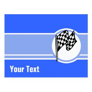 Carte Postale Drapeau Checkered ; Bleu