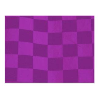 Carte Postale drapeau checkered magenta
