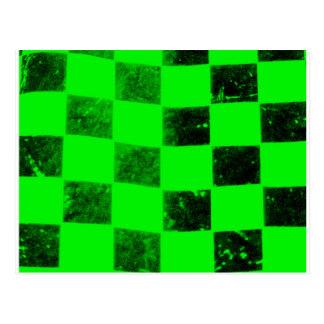 Carte Postale Drapeau Checkered vert clair