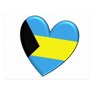 Carte Postale Drapeau de coeur des Bahamas
