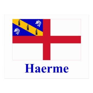 Carte Postale Drapeau de Herm avec le nom dans Guernesiais