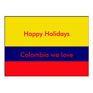 Carte Postale Drapeau de la Colombie