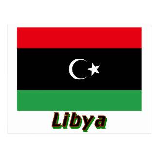Carte Postale Drapeau de la Libye avec le nom