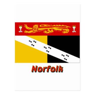Carte Postale Drapeau de la Norfolk avec le nom