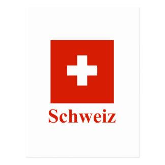 Carte Postale Drapeau de la Suisse avec le nom en allemand