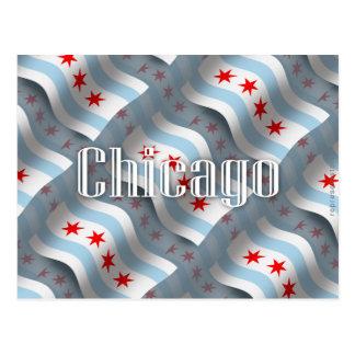 Carte Postale Drapeau de ondulation de Chicago