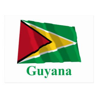 Carte Postale Drapeau de ondulation de la Guyane avec le nom