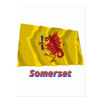 Carte Postale Drapeau de ondulation de Somerset avec le nom