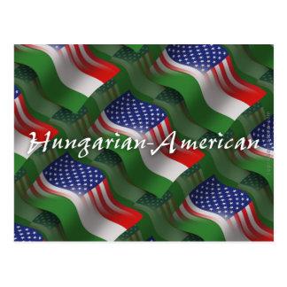 Carte Postale Drapeau de ondulation Hongrois-Américain