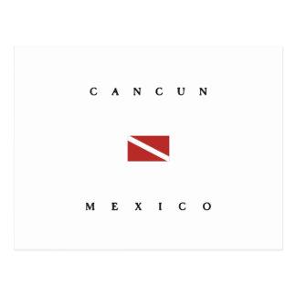 Carte Postale Drapeau de piqué de scaphandre de Cancun Mexique