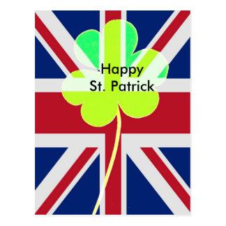 Carte Postale Drapeau irlandais du R-U de trèfle de shamrock du