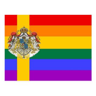Carte Postale Drapeau suédois de fierté de GLBT
