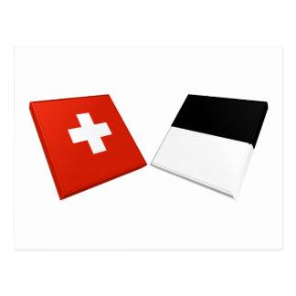 Carte Postale Drapeaux de la Suisse et du Fribourg