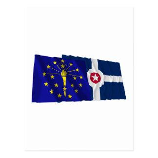 Carte Postale Drapeaux de l'Indiana et d'Indianapolis