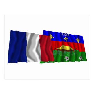 Carte Postale Drapeaux de ondulation de la France et de Guyane