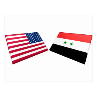 Carte Postale Drapeaux des USA et de la Syrie