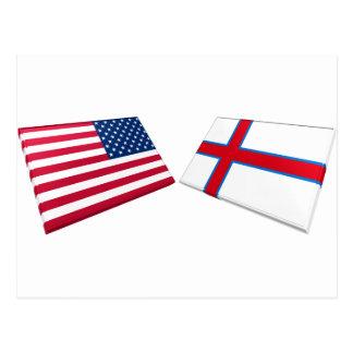 Carte Postale Drapeaux des USA et des Iles Féroé