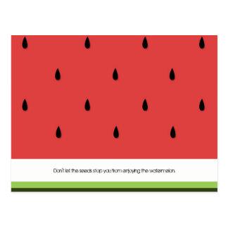 Carte postale drôle et inspirée de pastèque