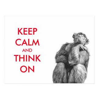 Carte Postale Drôle gardez le calme et pensez sur le chimpanzé