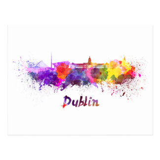 Carte Postale Dublin skyline in watercolor