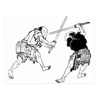 Carte Postale Duelers de Hokusai