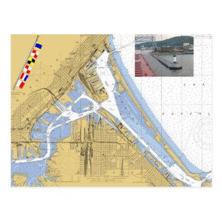 Carte Postale Duluth, drapeaux de signal de diagramme de port de