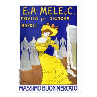 Carte Postale E.A. Mele rare, poster vintage 1902 de Naples,