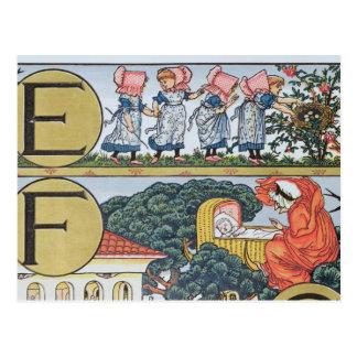 Carte Postale E-F, d'un alphabet basé sur des comptines