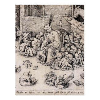 Carte Postale École par Pieter Bruegel l'aîné