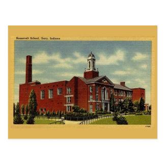 Carte Postale École vintage de Roosevelt, Gary DEDANS