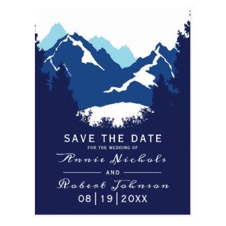 Carte Postale Économies bleues de mariage d'hiver de montagne la