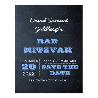 Carte Postale Économies bleues de Mitzvah de barre de tableau la