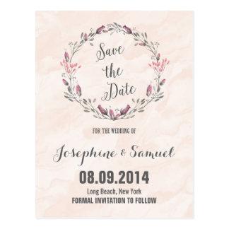 Carte Postale Économies d'aquarelle de roses la date
