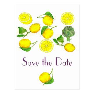 Carte Postale Économies d'art d'aquarelle d'agrumes de citron la