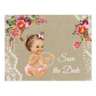 Carte Postale Économies de baby shower de dentelle de toile de
