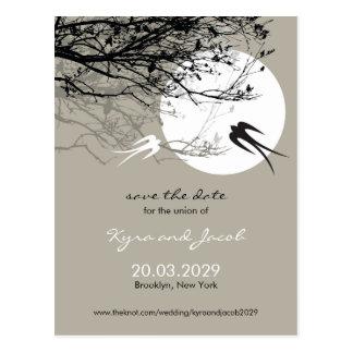 Carte Postale Économies de cendre d'hirondelles de clair de lune