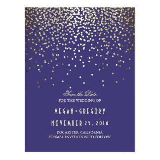 Carte Postale économies de marine de confettis de feuille d'or