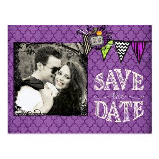 Carte Postale Économies de photo de mariage de Halloween la date