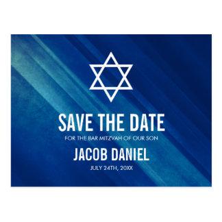 Carte Postale Économies grunges bleues modernes de Mitzvah de