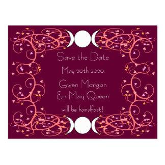 Carte Postale Économies lesbiennes de mariage de lune de Wiccan
