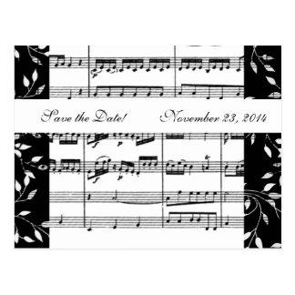 Carte Postale Économies noires et blanches de musique de Mozart