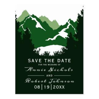 Carte Postale Économies vertes de mariage d'hiver de montagne la
