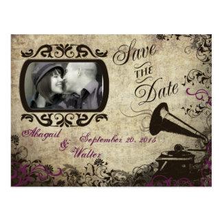 Carte Postale Économies vintages de mariage de phonographe la