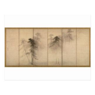 Carte Postale Écran de main gauche de pins par Hasegawa Tohaku