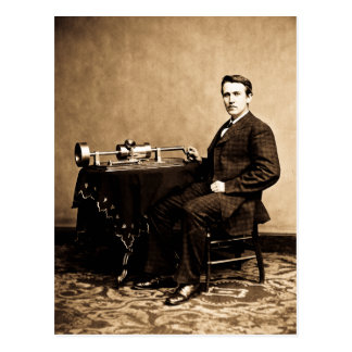 Carte Postale Edison et son phonographe 1887